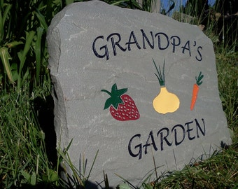 Grandpa's Garden Sign Engraved Stone