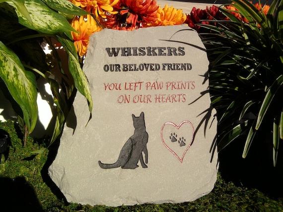 Pet Memorial for cat - engraved stone