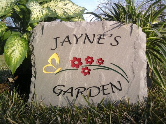 Engraved Garden Stone with Flowers & Butterfly