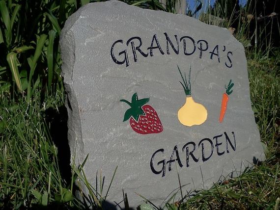 Grandpa39s garden sign engraved stone for Grandpas garden