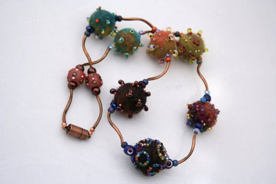 Felted beads and copper twist necklace