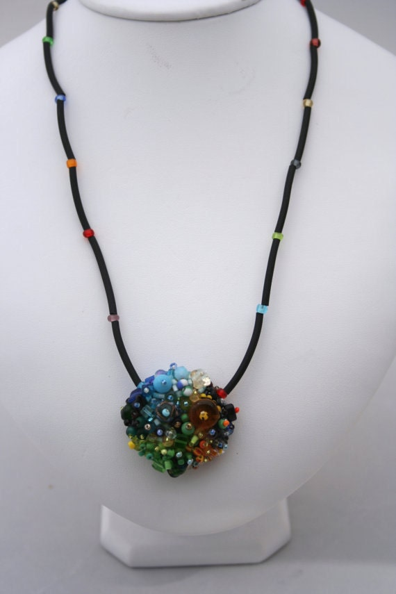 Beaded focal bead necklace
