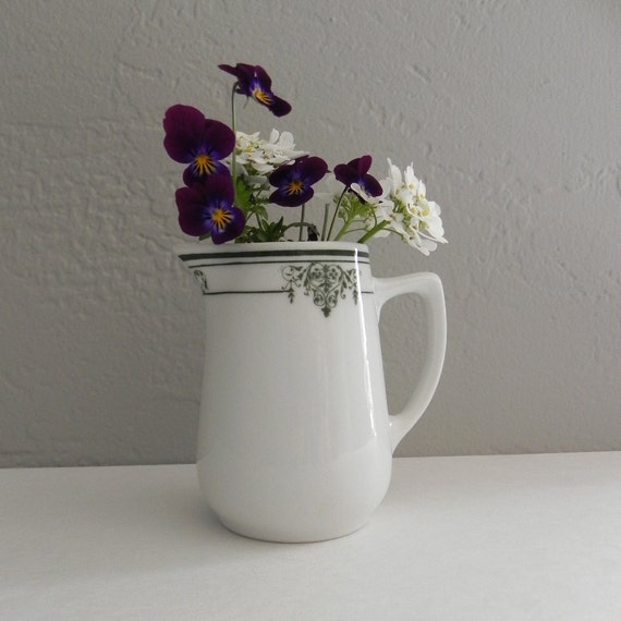 RESERVED FOR MANUEL Small Ironstone Pitcher White with Green Transfer Design, Restaurantware, Cottage Chic Style - Small Vase