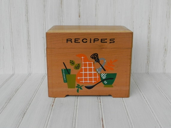 Vintage Wood Recipe Box with Painted Front Design...  Kitchenware Design... Orange and Green... Storage Box