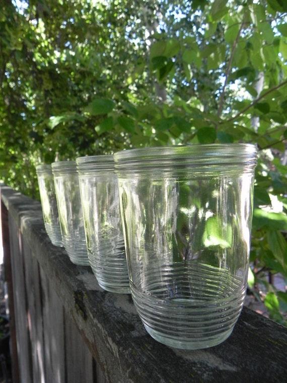 Kerr Jelly Jar Set of 4 - Clear Glass, Juice Glasses, Small Vintage Glass Vase, Glass Votives