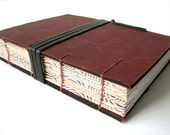 Unique Burgundy Coptic Stitched Leather Journal - Isabel Archer Inspired