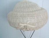 Vintage Schiaparelli Hat, White w/ Bow and Faux Pearl Detail - Treasury Item