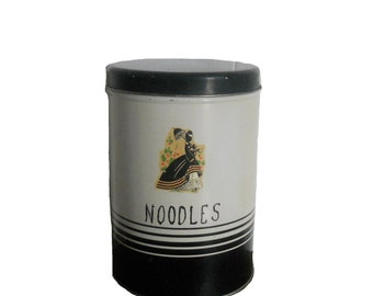 Vintage Tin Canister - Kitchen Decor - Black and Ivory Noodles Tin