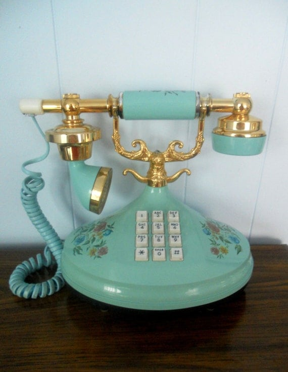 Vintage Blue Telephone - Empress Push Button Princess Style by Western Electric