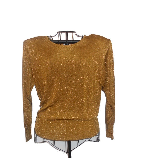 Vintage Gold Metallic Shirt - Long Sleeved 1980's Top Size L
