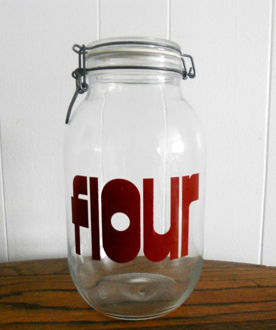 Vintage French Glass Jar - Triomphe Flour Kitchen Canister - Red Font
