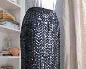 Studio 54 Vintage Black Sequined Skirt Size X-Small/Small