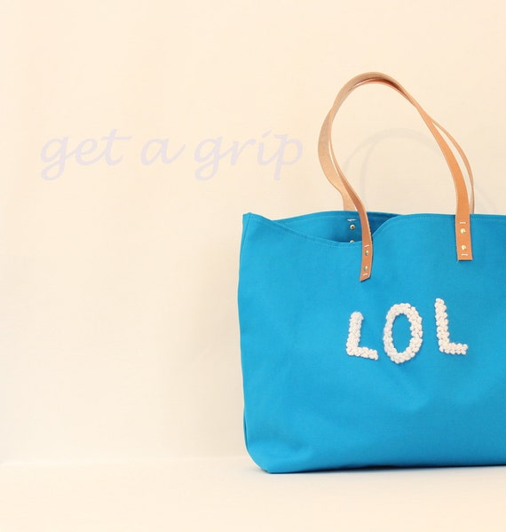 """Canvas Tote...""""LOL"""" Petite CERULEAN tote bag with PERSONALIZED leather label"""