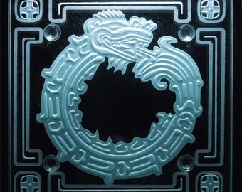 Ouroboros Mayan Design - Etched Glass - Beverage Coaster Table Top Art