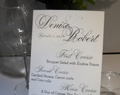 Charming Elegant Script Wedding Menu Cards