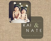 """INSTANT DOWNLOAD Custom Photo Luxe Die Cut Birth Announcement Template """"Kai & Nate"""""""