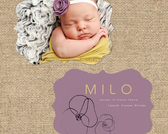 "INSTANT DOWNLOAD Custom Photo Luxe Die Cut Birth Announcement Template ""Milo"""