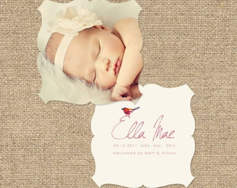 "INSTANT DOWNLOAD Custom Photo Luxe Die Cut Birth Announcement Template ""Ella"""