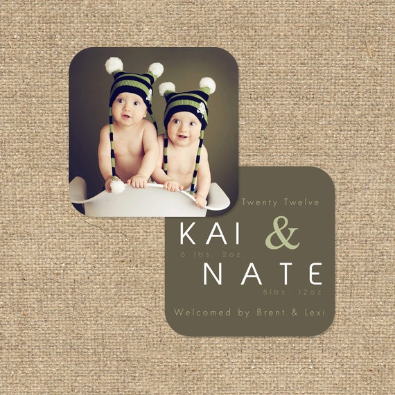 "INSTANT DOWNLOAD Custom Photo Luxe Die Cut Birth Announcement Template ""Kai & Nate"""
