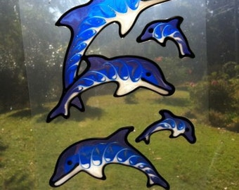 Dolphin family set Suncatcher window sticker/decal stained glass style Sunshiner