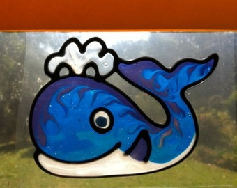 Whale Suncatcher window sticker/decal stained glass style Sunshiner