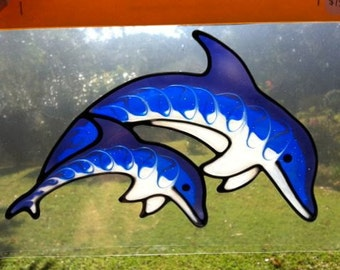Double Dolphin Suncatcher window sticker/decal stained glass style Sunshiner