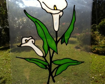 large lily flower centrepiece  Suncatcher window sticker/decal stained glass style Sunshiner