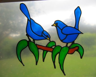 Blue wrens on a branch Suncatcher window sticker/decal stained glass style Sunshiner