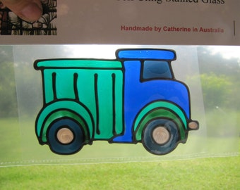 dustcart lorry truck tipper Suncatcher window sticker/decal stained glass style Sunshiner