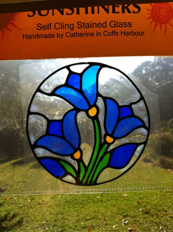 traditional blue  tulip circle  Suncatcher window sticker/decal stained glass style Sunshiner