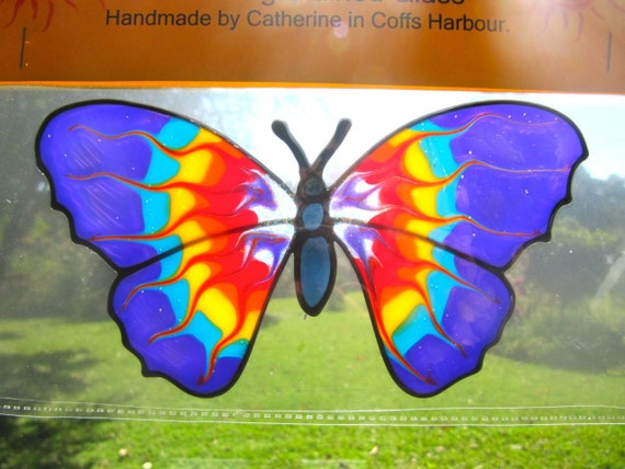 large rainbow  sparkle  butterfly set Suncatcher window sticker/decal stained glass style Sunshiner