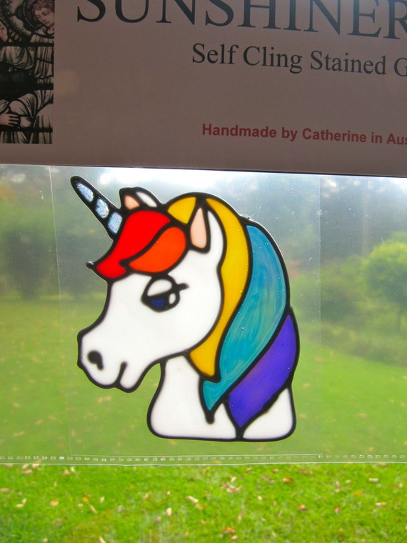 rainbow unicorn horse head Suncatcher window sticker/decal stained glass style Sunshiner