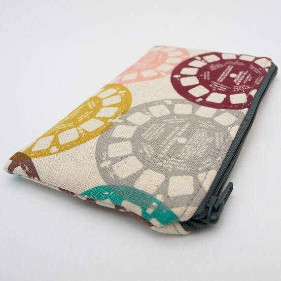 Zipper Pouch in Retro View Master Fabric by Melody Miller