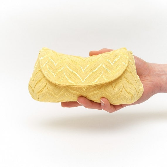 Canary Yellow Vintage Fabric Evening Women's Clutch Bag
