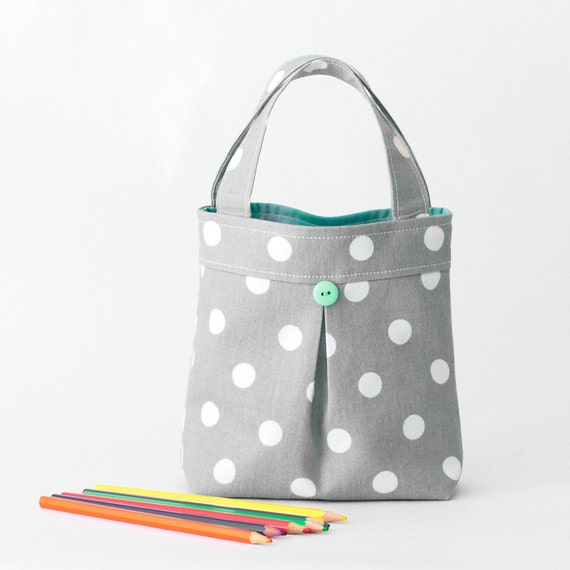 Kid's Bag Mini Pleated Toddler Tote Gray Polka Dot