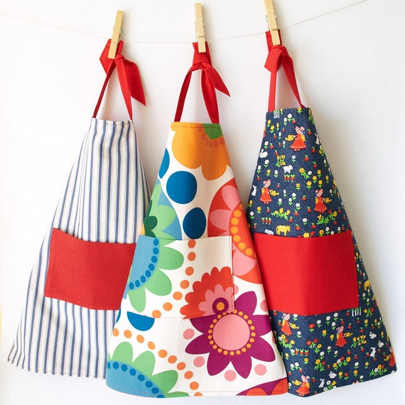 Children's Apron in Red, White and Blue