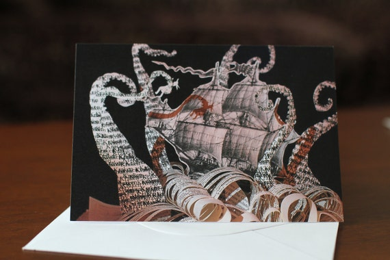 The Kraken blank Greeting Card of an original altered book sculpture