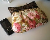 Vintage inspired romantic purse with flowers french vintage