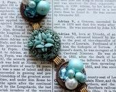 Bracelet Vintage Cluster Style Aqua