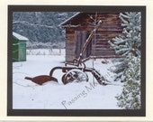 Time Gone By - Disk and Plow - Antique Plow - Winter - Photo Card