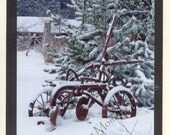 Time Gone By - Disk and Plow 2 - Antique Plow - Winter - Photo Card