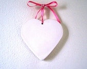 PlasterHeart Plaque 4 .5 inch plaque with pink ribbon- ready to paint any color.