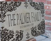Personalized Family Name Sign. with Floral Damask Design - Cottage Chic Romantic Last Name Plaque 11x24, PERFECT for WEDDING or HOUSEWARMING