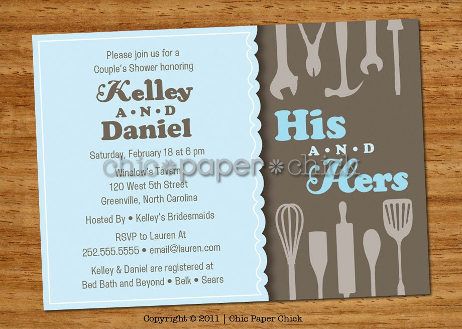 Wedding Shower Invitations For Couples: 20 Couple's Shower Invitations His & Hers By ChicPaperChick
