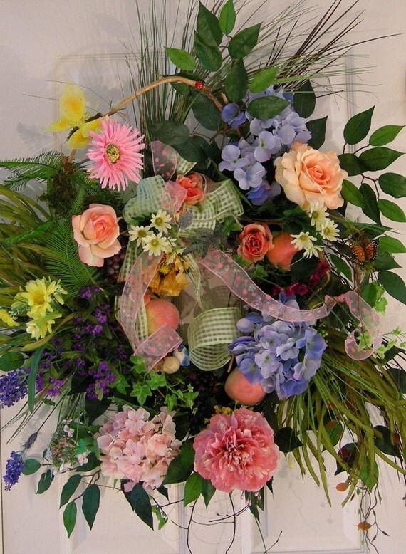 Large Front Door Floral Wreath Wreaths