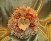 Beautiful Beige and Rust Real Touch Calla lilies, Dahlia and Hydranges Wedding Bouquet.