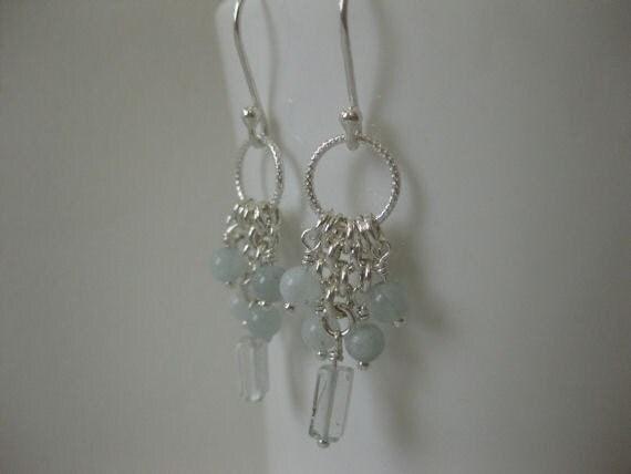 Aquamarine/Sterling Silver/Chandelier Earrings - 5168