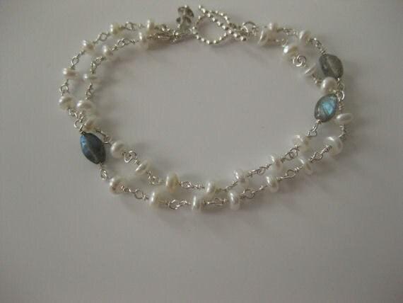 White Lotus Freshwater Pearls/Glowing Labradorite/Smoky Quartz/Sterling Silver Bracelet - 3066