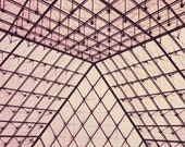 Abstract Paris- 8x10 Pink Photo, The Louvre, Paris - French Print - Hot Pink, Black, Shapes, Geometric - Triangles - Bold, Light