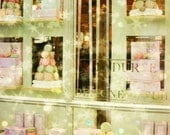 Paris Laduree Store - 8x10 Mint Green and Peach Photo - Sparkles, Stars, Macaroons, French, Macarons, Pastry Shop, Window, Soft, Pastels